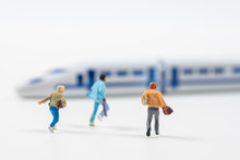 Business Miniature People Running To Transport Train