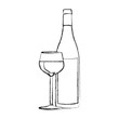 monochrome blurred contour of glass cup and bottle vector illustration
