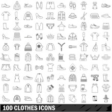 100 Clothes Icons Set, Outline...