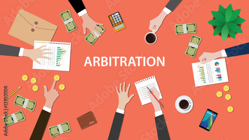 arbitration concept illustration with people discuss in a meeting with paperwork Wallpaper Mural