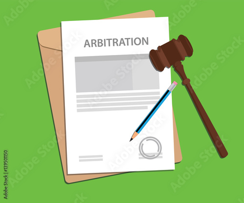 arbitration agreement letter stamped with folder document, blue pencil and judge Canvas Print