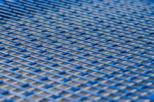 Blue Metal Mesh Texture With Rectangular Holes