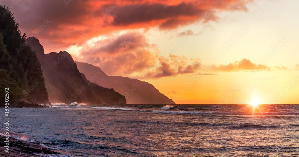 Fototapety, obrazy: napali sunset