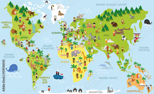 Funny Cartoon World Map With Children Of Different Nationalities Animals And Monuments All The