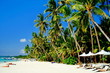 Beautiful tropical white sand beach with coconut palms and people on the beach