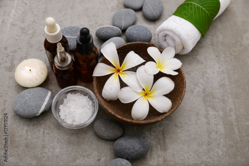 Staande foto Spa Composition of bath spa treatment on gray background