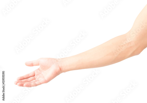 Foto Man arm with blood veins on white background