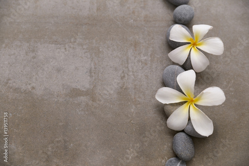 Spoed Fotobehang Spa Spa stone with two frangipani on grey background.