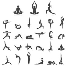 Yoga Woman Poses Icons Set. Vector Illustrations. Used Easy For Logo Yoga Branding.