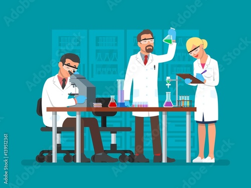 Fotografía  Vector illustration of scientists working at science lab, flat style