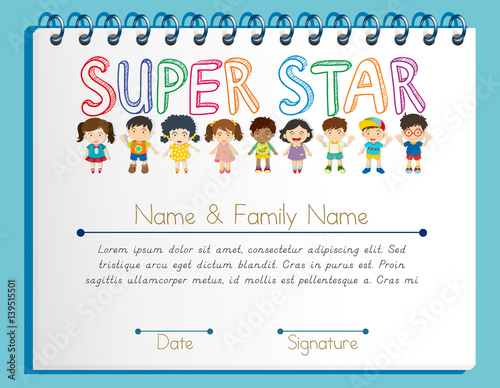 Certificate Template For Super Star With Many Children Buy This