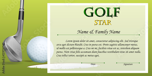 Certificate Template For Golf Star With Green Background Buy This