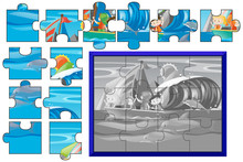Jigsaw Puzzle Game With Kids Sailing At Sea