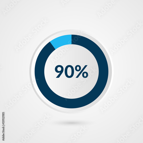 90 Percent Blue Grey And White Pie Chart Percentage Vector