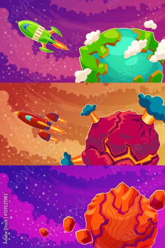 Canvas Prints Dinosaurs Set of vector horizontal banners with cartoon fantasy of alien planets