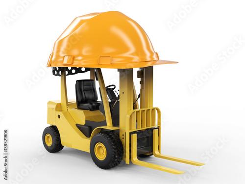 Plakat wózek widłowy z żółtym kasku