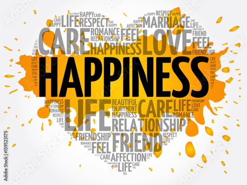 Fotografia Happiness word cloud collage, heart concept background