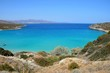 Elevated view of the sea and coastline with mountains to the rear, Istro, Crete.
