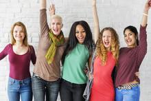 Group Of Women Happiness Cheer...