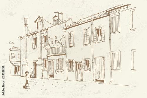 In de dag Illustratie Parijs Vector sketch of architecture of Burano island, Venice, Italy. Retro style.