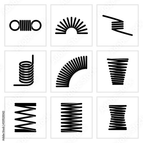 Fotografie, Obraz  Metal spiral flexible wire elastic spring vector icons