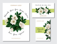 A Set Of Cards With The Words Of Gratitude. Design Template Card For The Hotel, Beauty Salon, Spa, Restaurant, Club& Vector Illustration Of A Spring Bouquet Of Magnolia Flowers.