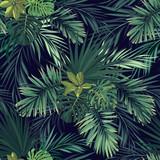 Bezszwowa ręka rysujący botaniczny egzotyczny wektoru wzór z zieloną palmą opuszcza na ciemnym tle. - 139531976