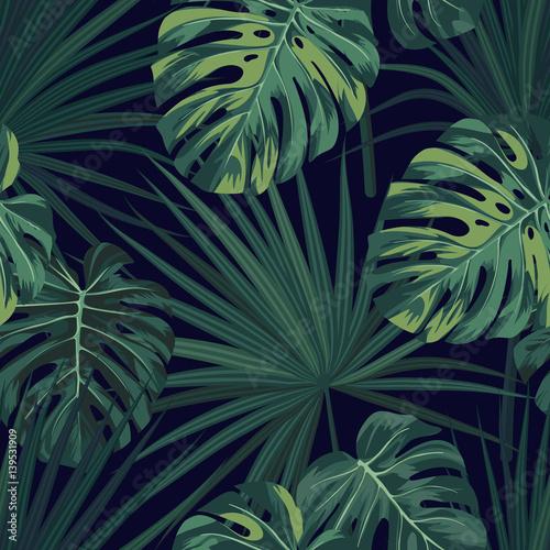 ciemny-tropikalny-tlo-z-dzungli-roslinami-bezszwowy-wektorowy-tropikalny-wzor-z-zielona-sabal-palma-i-monstera-opuszcza