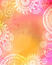 Artistic Watercolor Texture With White Hand Drawn Mandala Doodles Frame. Mix Of Pink. Yellow And Orange Colors.