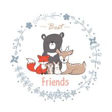 Doodle Set Of Best Friends Cut...