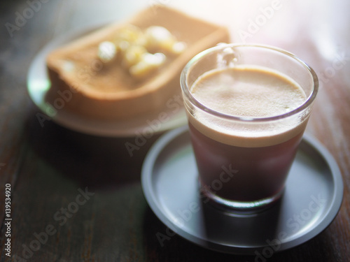 Foto op Canvas Chocolade Hot coffee and bread in holiday morning.