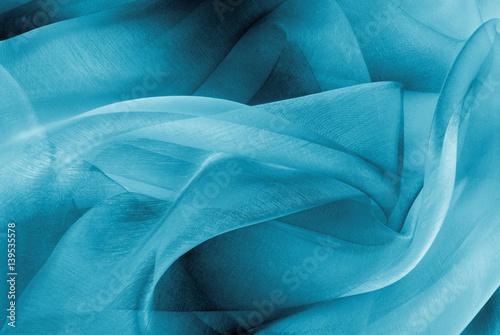 Fotografie, Obraz  organza fabric in blue color