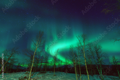 Photo  Northen lights phenomenon Aurora Borealis.