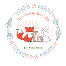 Doodle Set Of Best Friends Forever. Cute Rabbit, Squirrel, Fox And Beaver In Floral Frames Hand Drawing Vector Illustration For Kid T-shirt Print, Greeting And Invitation Card