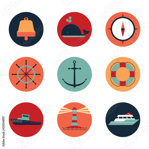 Photo  Marine icons in circles
