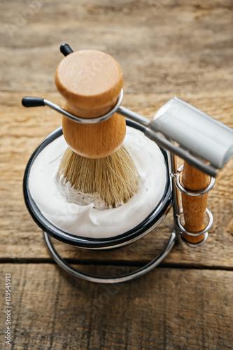 mens shaving kit on wooden background - Buy this stock photo