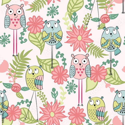 Cotton fabric Vector seamless pattern with owls and flowers