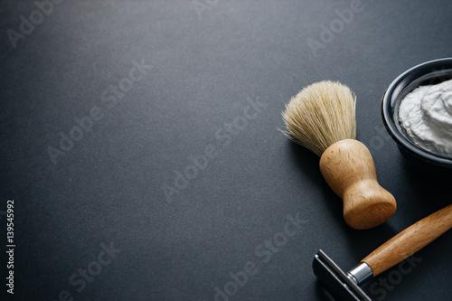 mens shaving kit on black background - Buy this stock photo