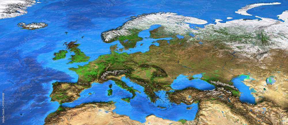 Hanging photo High resolution world map focused on Europe ...