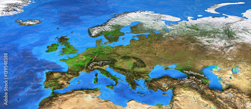 Poster de jardin Europe Méditérranéenne High resolution world map focused on Europe