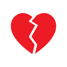 Broken Heart Symbol Isolated V...