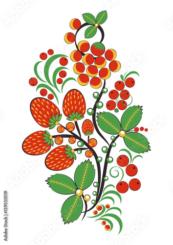 Naklejka na szybę Floral ornament with flowers, strawberries and rowan in Khokhloma style in traditional colors isolated on white background. Russian folklore. Vector illustration