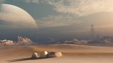 Futuristic Mars Space Scene With Large Moon