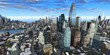Nice view of the skyscrapers against the sky with clouds, 3d rendering