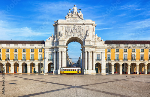 Praca do Comercio with yellow tram, Lisbon, Portugal