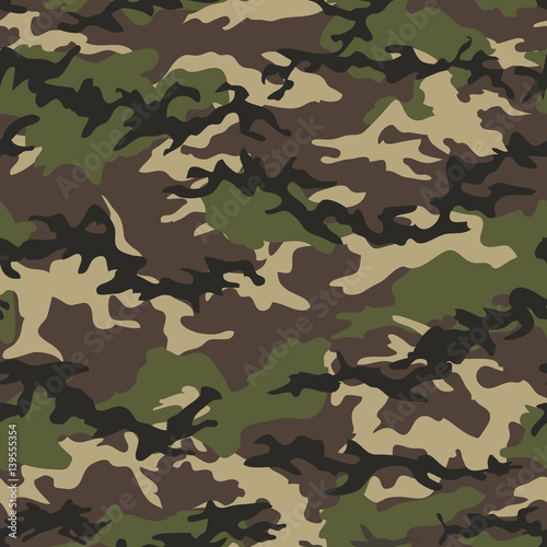 Fotografía  Camouflage seamless woodland pattern background