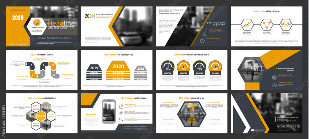 Fototapeta Creative set of abstract infographic elements. Modern presentation template with title sheet. Brochure design in yellow, dark blue, white and gray colors. Vector illustration. City street image. Urban