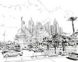 Las Vegas city hand drawn.USA. Nevada. Street sketch, vector illustration - 139560520