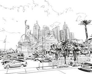 FototapetaLas Vegas city hand drawn.USA. Nevada. Street sketch, vector illustration