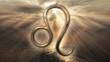 canvas print picture - Mystic golden zodiac horoscope Leo symbol. 3D rendering